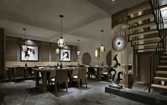 中式休闲餐厅3D模型【ID:27160799】