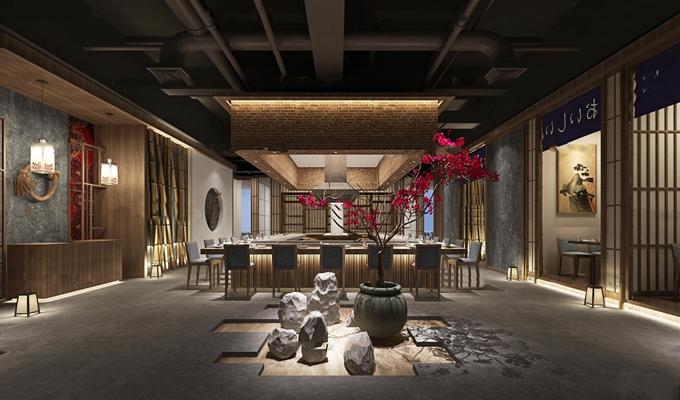 日式料理餐厅餐桌椅组合3D模型【ID:27160893】