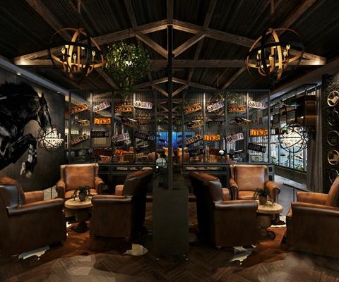 工业风酒吧咖啡店3D模型【ID:27160994】