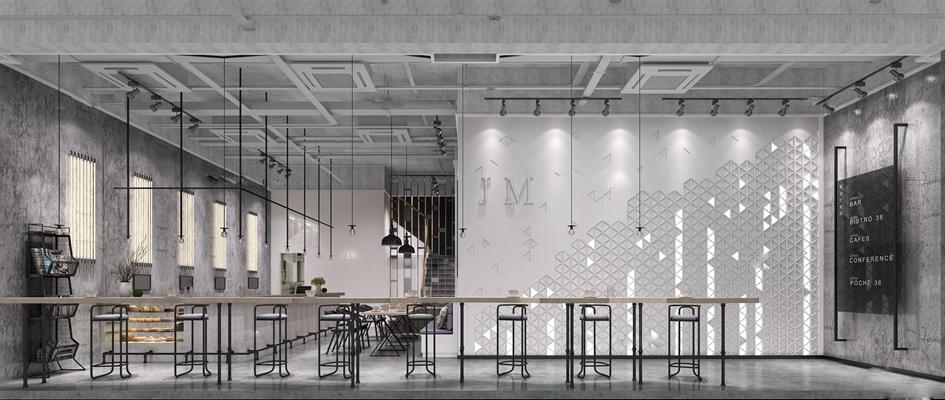 工业风高级灰咖啡厅3D模型【ID:27160997】