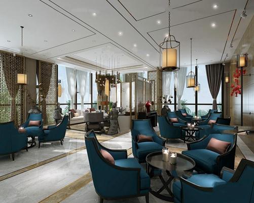 新中式餐厅空间3D模型【ID:27161098】