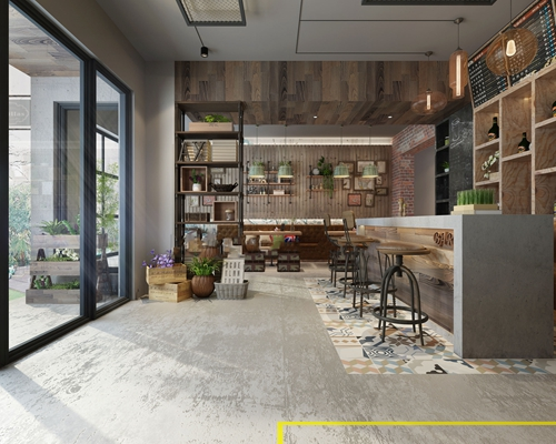工业风咖啡厅3D模型