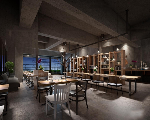 现代工业风餐饮空间3D模型【ID:27161394】
