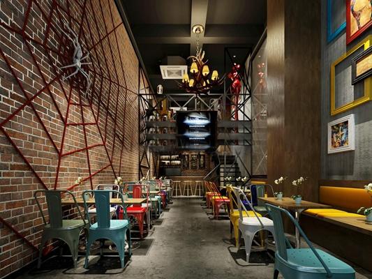 现代工业风餐厅空间3D模型【ID:27161497】