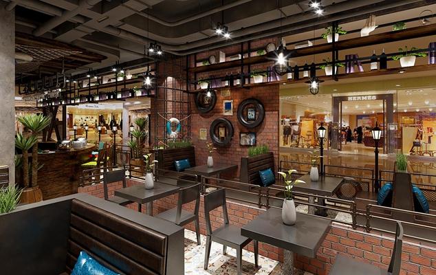 现代工业风格餐厅3D模型