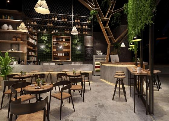 现代工业风咖啡店3D模型【ID:27161596】