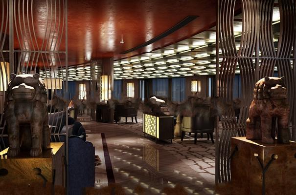 新中式酒店餐饮空间3D模型【ID:27161699】