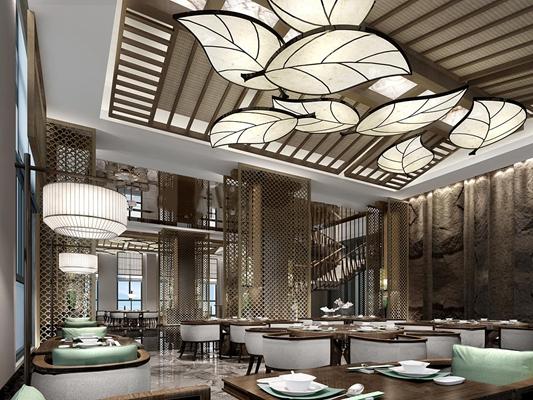 新中式餐厅叶形吊灯3D模型下载【ID:27162191】