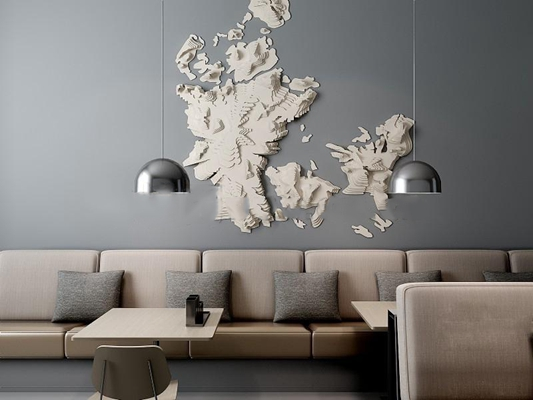 现代卡座沙发纸质墙饰吊灯餐桌组合3D模型下载【ID:27162195】