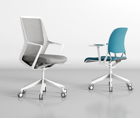 现代布艺办公椅组合3D模型【ID:27166791】