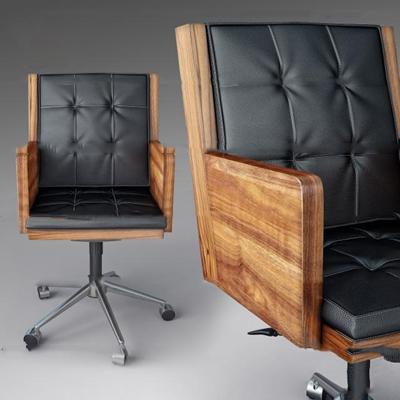 现代黑色皮革办公大班椅3d模型【ID:27170295】
