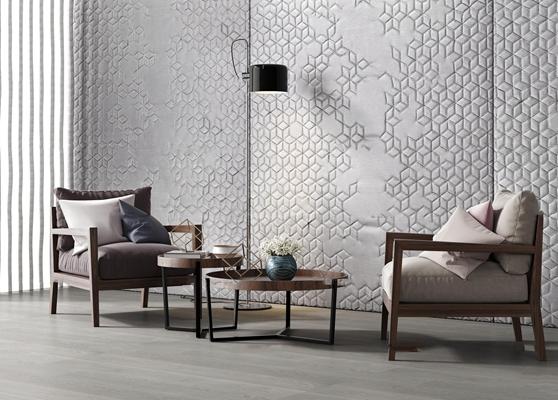 现代沙发椅木茶几组合3D模型【ID:27171849】