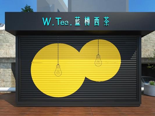 现代集装箱奶茶店3D模型【ID:27173152】