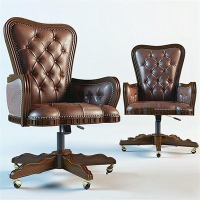 欧式棕色皮革办公椅3D模型【ID:27173698】