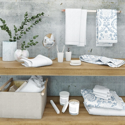 现代毛巾肥皂卫浴用品3D模型【ID:27175513】
