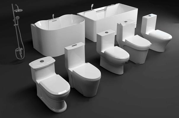 现代浴室马桶浴缸花洒组合3d模型【ID:27177904】