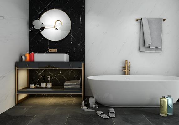 后现代浴缸洗手台3d模型【ID:27177908】