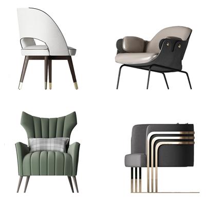 现代休闲单人沙发椅组合3d模型【ID:27181445】