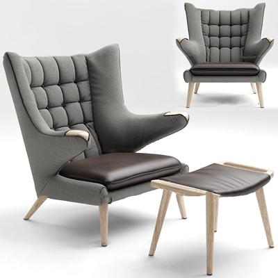 现代布艺休闲椅脚榻3D模型【ID:27182347】