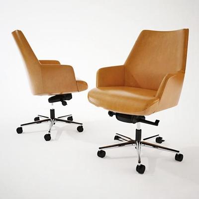 现代皮革办公单椅3d模型【ID:27195095】