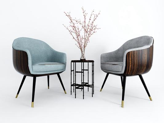 现代休闲单椅摆件组合3d模型【ID:27195142】