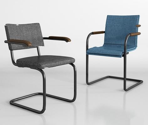 现代布艺办公椅组合3d模型【ID:27196496】