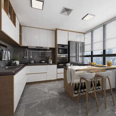 北欧简约厨房3D模型【ID:528288023】