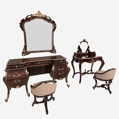 欧式梳妆台单椅组合3D模型【ID:27202765】