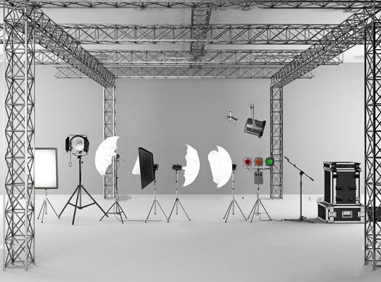 现代摄影器材舞台灯组合3d模型【ID:27207195】