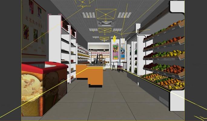 现代超市水果便利店3D模型【ID:27207591】