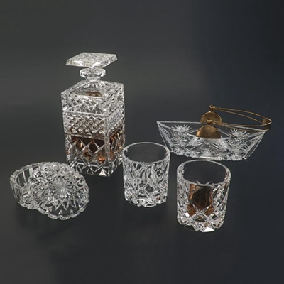 现代玻璃酒杯酒烟灰缸组合3d模型