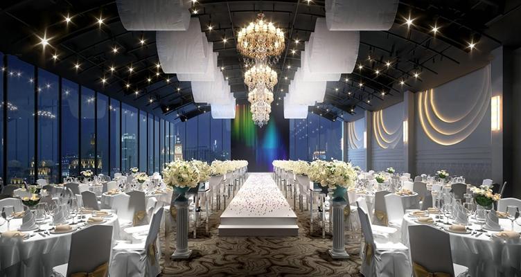现代酒店婚庆宴会大厅3d模型【ID:27210357】