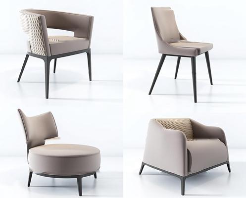 现代皮革单椅组合3D模型【ID:27215446】