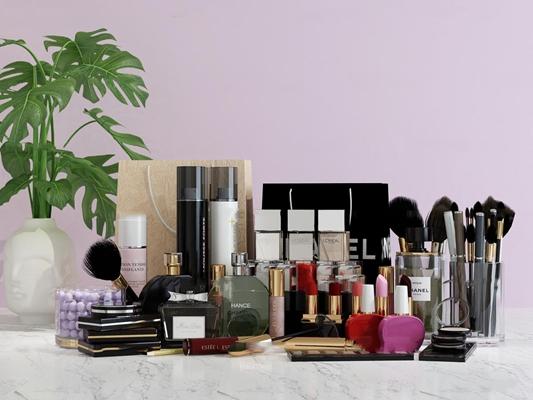 现代口红香水化妆品组合3D模型