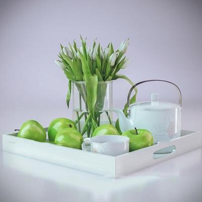 现代苹果茶壶花瓶组合3D模型【ID:27221790】