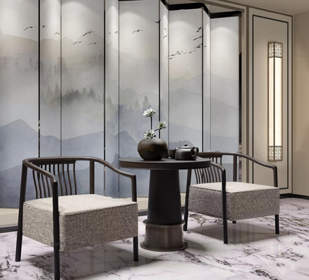 新中式休闲椅茶几茶具屏风组合3D模型【ID:27225249】