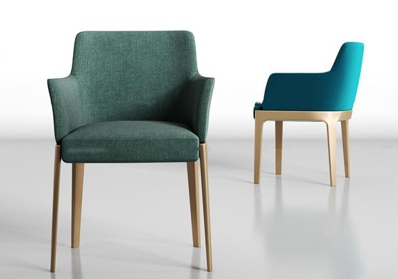 现代休闲布艺单椅组合3D模型【ID:27225644】