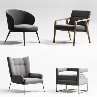 现代布艺休闲椅组合3D模型【ID:27225747】