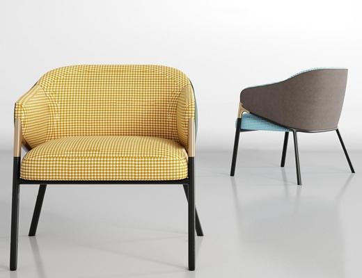 现代休闲布艺单椅组合3D模型【ID:27226245】