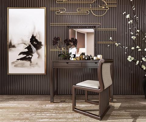 新中式实木梳妆台化妆品花卉组合3D模型【ID:27229167】