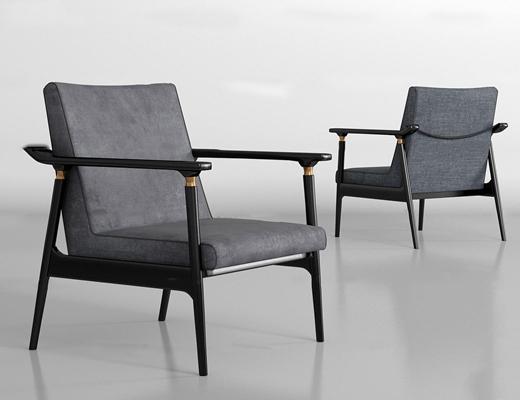新中式布艺单椅组合3D模型【ID:219680473】