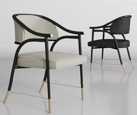 新中式实木布艺单椅组合3D模型【ID:27231845】