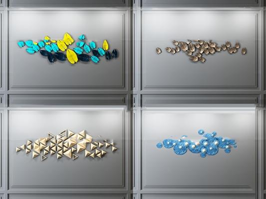 现代金属装饰墙3D模型【ID:27234424】