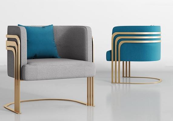 现代金属布艺单椅组合3D模型【ID:27236740】