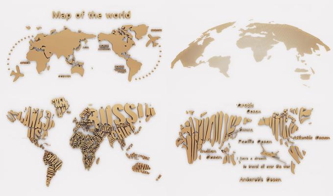 现代金属世界地图墙饰挂件组合3D模型【ID:27237225】