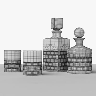 现代酒水组合3D模型【ID:27239953】