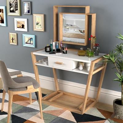 现代实木梳妆台单椅摆件组合3D模型【ID:27240266】