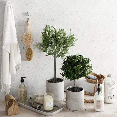 现代卫浴用品盆栽装饰品组合3D模型【ID:27242712】