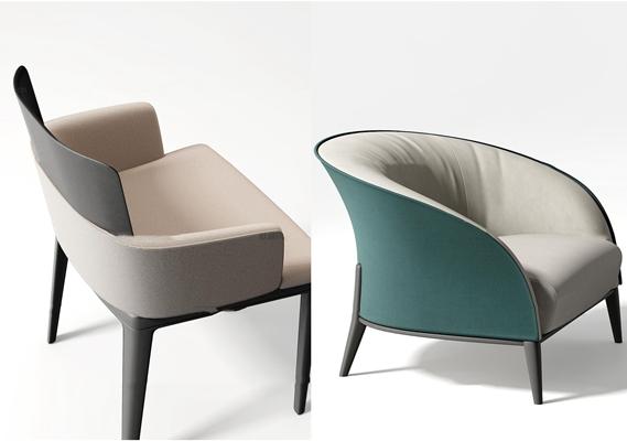 现代布艺沙发椅单椅3D模型【ID:219704495】