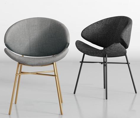 现代金属布艺单椅组合3D模型【ID:27244243】